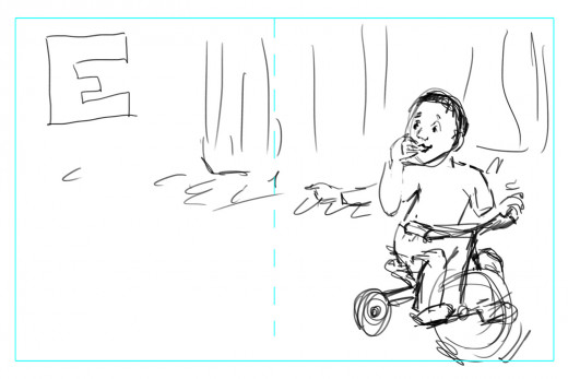Thumbnail sketches for the final illustration