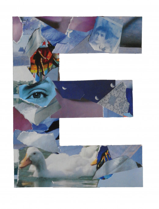 The finished collage of the E