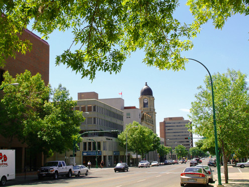Downtown Lethbridge, Alberta: 4th Avenue S between 8th Street and Stafford Blvd