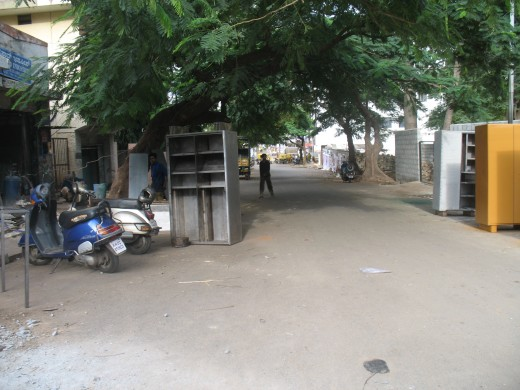 Main Road used as work shop for fabricating steel items.