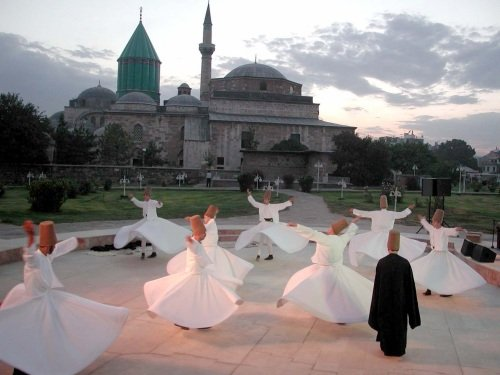 Sufi dancers at Sufi's tomb in Turkey