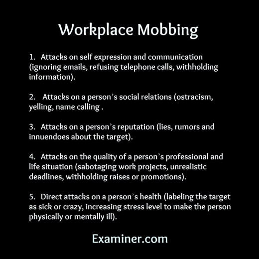 This is just a base framework. The 2005 workplace mobbing was much worse. Think up and down the spectrum.