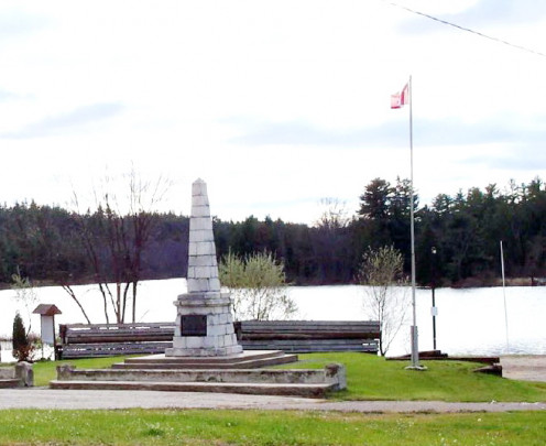 Monument in Harbour Square, Portage du Fort, Quebec, Canada