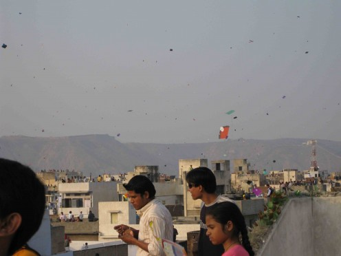 At roof top: Makar Sankranti: Kite flying festival in Jaipur