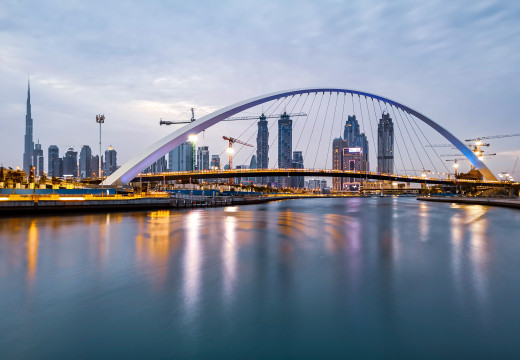Dubai Water Canal and the Tolerance Bridge
