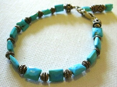 Sleeping Beauty Turquoise Bracelet with Bali Sterling Silver