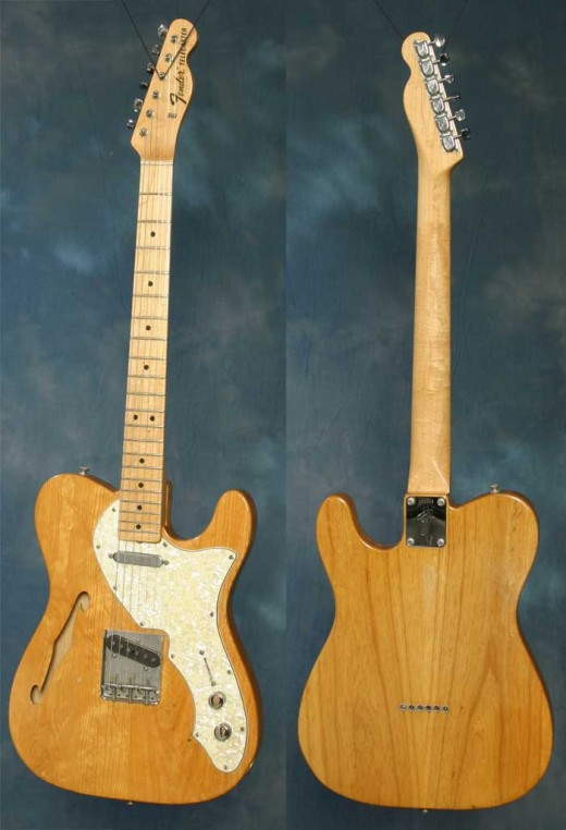In 1969, Fender produced the ever popular Thinline Telecaster. It featured the same electronics, just mounted on a semi-hollow, thinline body. Yes, this one does have a maple fretboard, but that was common on the Thinline models.