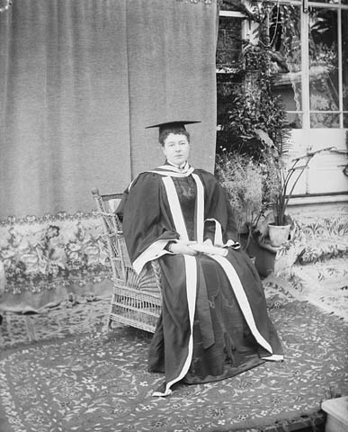 The Countess of Aberdeen (née Ishbel Maria Marjoribanks) in the robes which she wore when she received an honorary L.L.D. from Queen's University, 1897