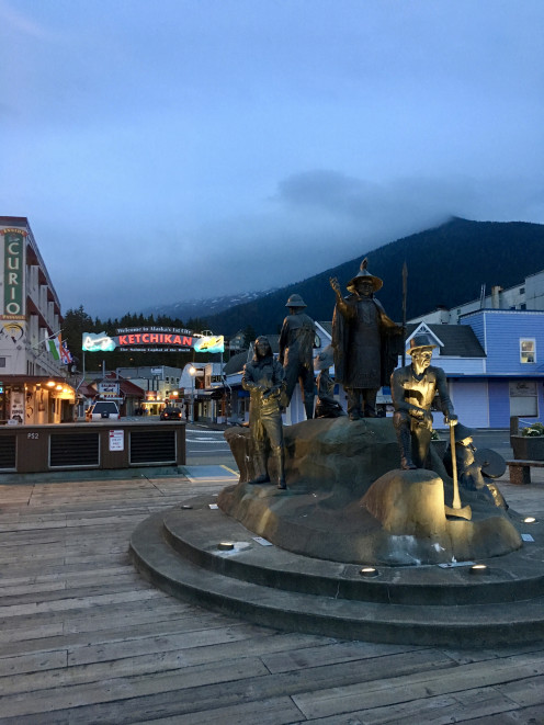 Downtown Ketchikan with Deer mountain at dusk.
