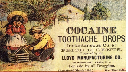 """""""Cocaine toothache drops"""", 1885 advertisement of cocaine for dental pain in children"""