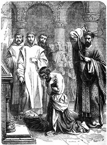 Henry II doing penance for the murder of Thomas Becket. Attribution: Cassell's illustrated History of England volume 1.