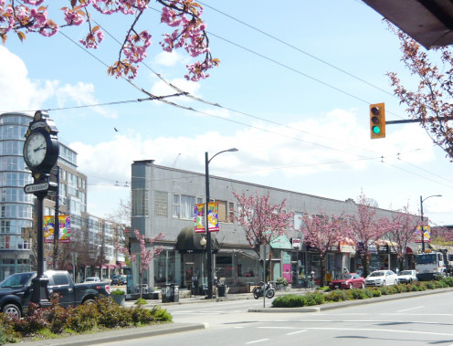 """Triangle Building (built 1947, previously """"Wosk Block""""), 2414 Main Street at Kingsway, Vancouver, British Columbia, Canada."""
