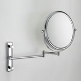 Affixing a make up mirror to a wall on a swinging arm keeps your hands free