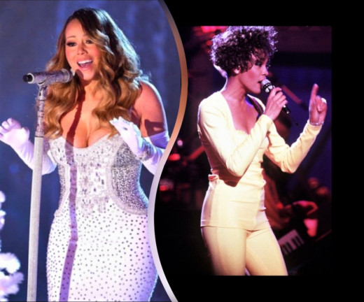 Whitney Houston and Mariah Carey are great at singing beautiful songs.