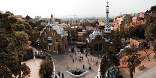 Panoramic View of the Entrance to Barcelona's Park Güell