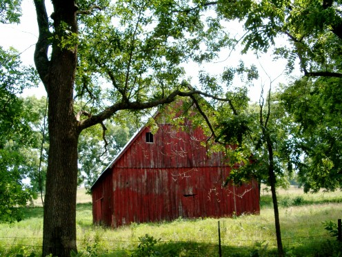 "This particular barn seems almost to have s a ""face"" on it, with the way the door and ""windows"" are.  I just love it.  Photo taken in Missouri."
