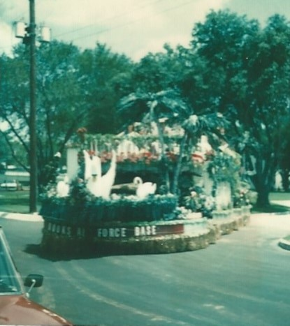 The Brooks AFB Fiesta float at the fiesta parade, April 1979.