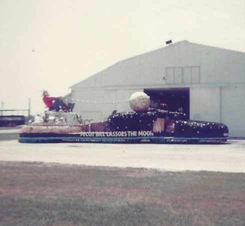 """The Brooks AFB float, at Brooks AFB,  The theme was """"Pecos Bill Lassos the Moon""""."""