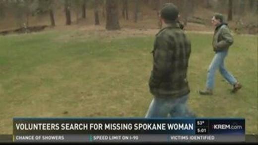 Volunteers search for missing Spokane woman Diane Hastings. Photo courtesy of KREM.