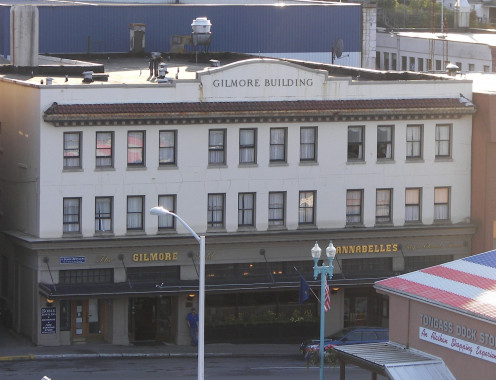 The historic Gilmore Building in Ketchikan, Alaska from the east channel of the Tongass Narrows.