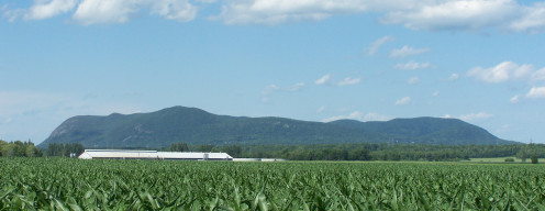 Mont Saint-Hilaire, Quebec, seen from the south, showing the various summits.