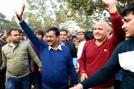 The Afrique Kejriwal party ranked the results of counting 62 out of 70 constituencies (AFP)