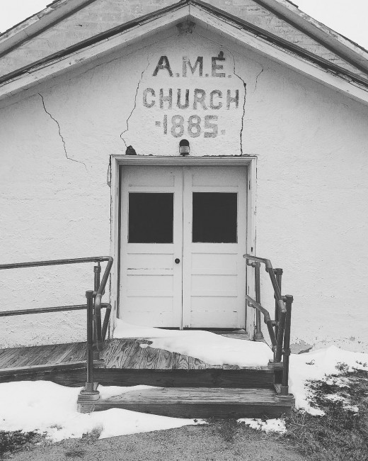AME Church in the throes of another brutally cold winter.  Nicodemus, KS