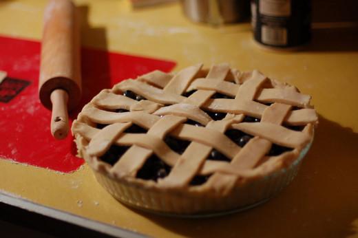 Homemade blueberry pie with lattice piecrust.