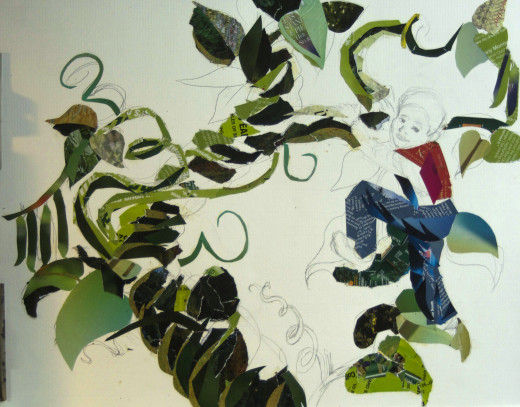 Collage progress photo.  I seem to have lost the roughs and sketches.