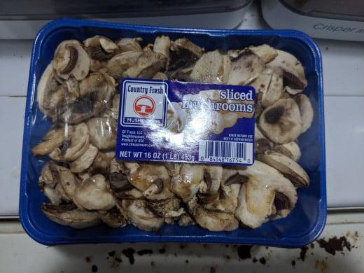 package of fresh, sliced mushrooms