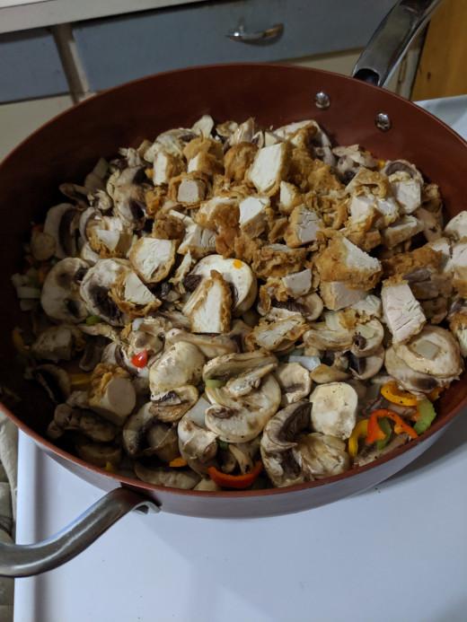 add chopped chicken