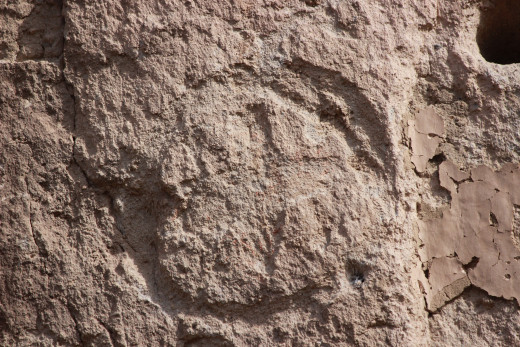 Cross shaped rock carving, Bandelier National Monument.