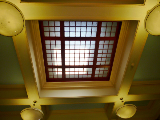 Ceiling view inside of the library