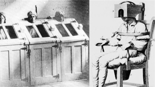 Tranquilizing chair and boxes for restraining the mentally ill