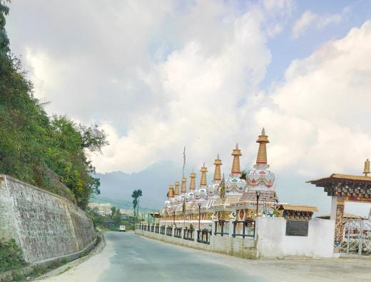 Stupas on the road enroute Thimphu
