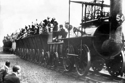 Locomotion No. 1 runs in the 1920 celebration of the Yarm meeting
