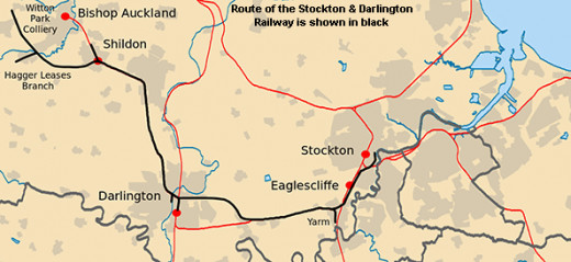 Route map of the Stockton & Darlington Railway, with the short spur to Yarm (lower centre)