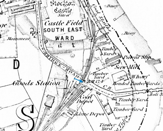 Stockton Goods depot, the original route leading through to the quayside on the Tees with the coal staiths for ships to be loaded before low tide