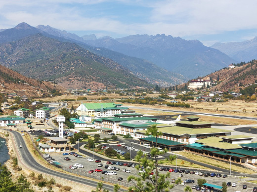 Paro Airport from viewpoint