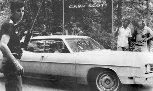 Girl Scouts going home after the triple murder at Camp Scott in 1977.