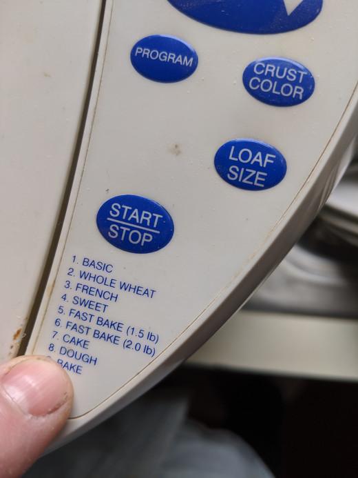 Select Dough Program and Start