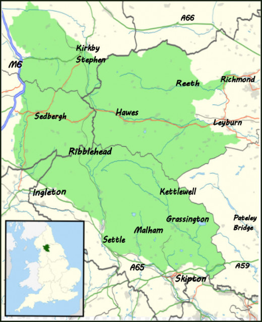 An overall map of the Dales region - places you've read about in my other 'Travel North' pages are here