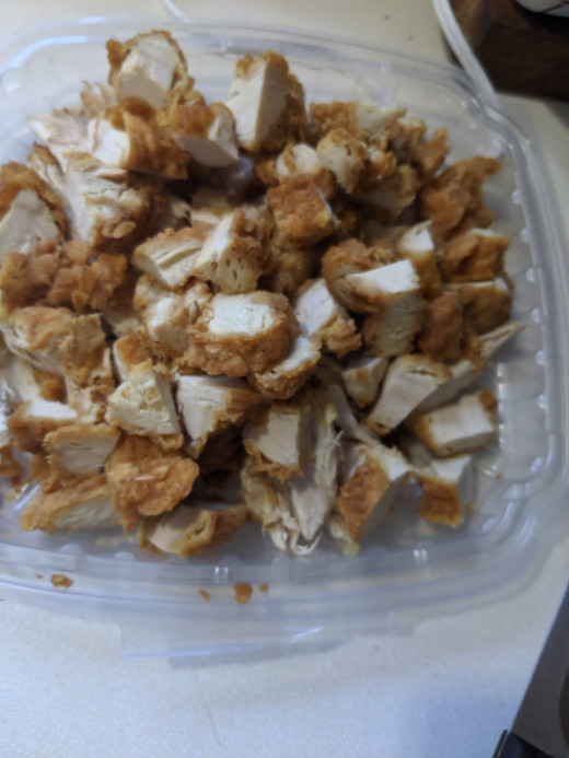 Cut cooked chicken into bite size pieces