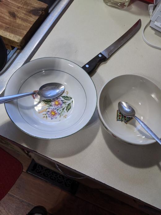 Bowls, spoons