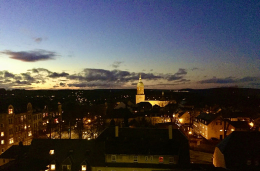 My first evening in Annaberg-Bucholz and the amazing view from my friends' top floor apartment.