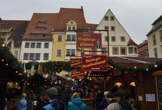 Freiberg Weihnachtsmarkt at around 4pm before the crowds