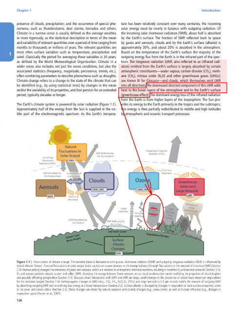 "Figure 2. Highlighted photocopy of page 126 IPCC Climate Change 2013: ""The Physical Science Basis"""