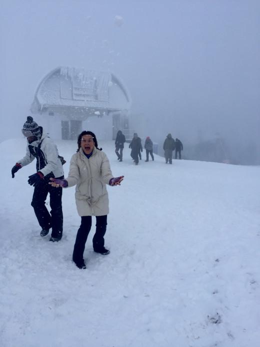 The author in a snow storm on Klinovec, Jáchymov