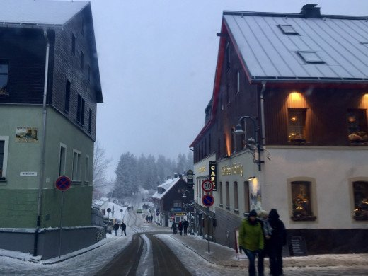 Café König after the snow fell in the New Year