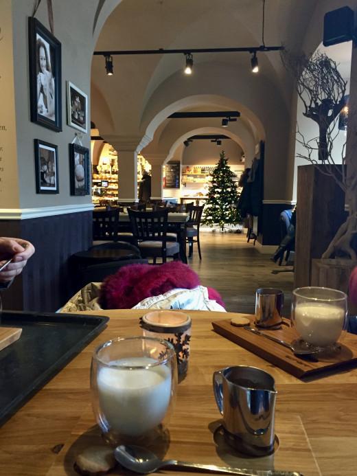 Enjoying another hot chocolate in an Annaberg café